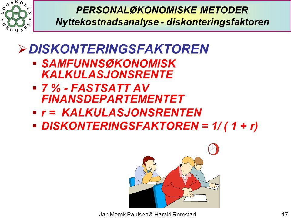 Jan Merok Paulsen & Harald Romstad17 PERSONALØKONOMISKE METODER Nyttekostnadsanalyse - diskonteringsfaktoren  DISKONTERINGSFAKTOREN  SAMFUNNSØKONOMI