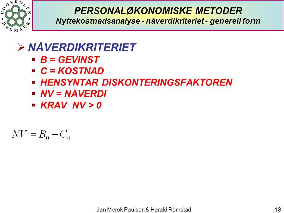 Jan Merok Paulsen & Harald Romstad18 PERSONALØKONOMISKE METODER Nyttekostnadsanalyse - nåverdikriteriet - generell form  NÅVERDIKRITERIET  B = GEVIN