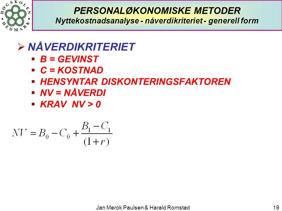 Jan Merok Paulsen & Harald Romstad19 PERSONALØKONOMISKE METODER Nyttekostnadsanalyse - nåverdikriteriet - generell form  NÅVERDIKRITERIET  B = GEVIN