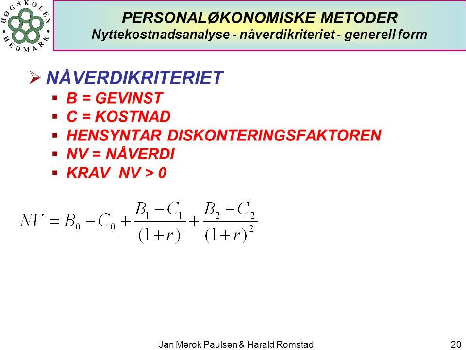 Jan Merok Paulsen & Harald Romstad20 PERSONALØKONOMISKE METODER Nyttekostnadsanalyse - nåverdikriteriet - generell form  NÅVERDIKRITERIET  B = GEVIN