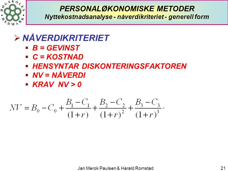 Jan Merok Paulsen & Harald Romstad21 PERSONALØKONOMISKE METODER Nyttekostnadsanalyse - nåverdikriteriet - generell form  NÅVERDIKRITERIET  B = GEVIN