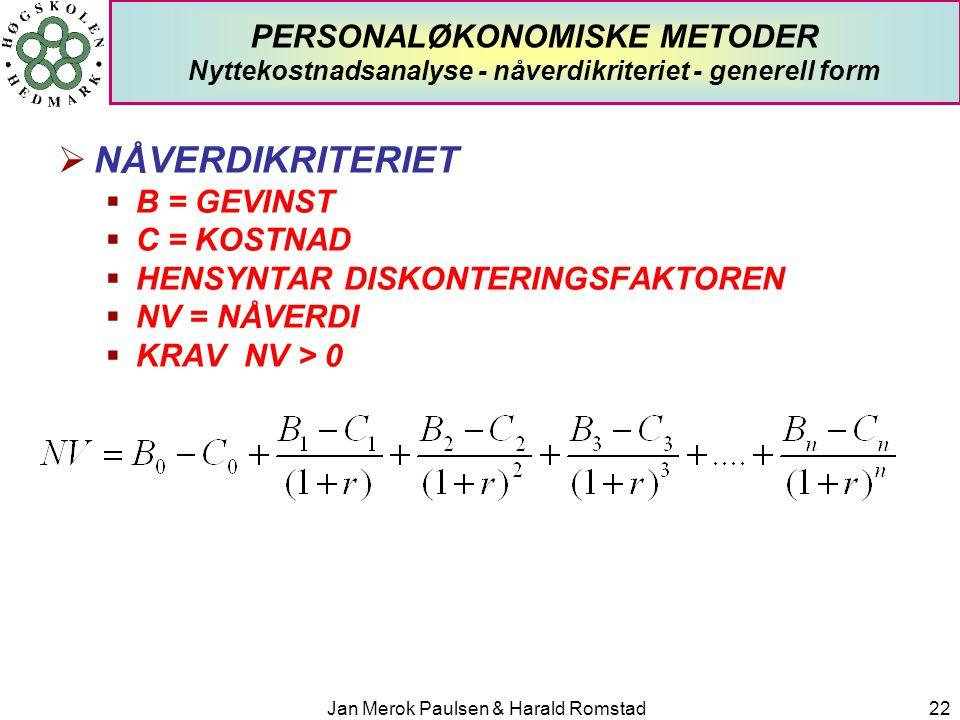 Jan Merok Paulsen & Harald Romstad22 PERSONALØKONOMISKE METODER Nyttekostnadsanalyse - nåverdikriteriet - generell form  NÅVERDIKRITERIET  B = GEVIN