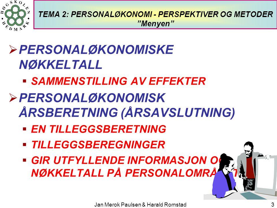 Jan Merok Paulsen & Harald Romstad24 PERSONALØKONOMISKE METODER Nøkkeltall - generelle personalnøkkeltall NøkkeltallHva nøkkeltalla beskriver Inntekter/antall ansatteHva hver ansatt i snitt skaper av inntekter Personalkostnader/ Totale kostnader Personalintensiteten Infrastrukturkostnad % = 1 – Direkte personalkostnader / Totale kostnader Summen av de indirekte kostnader som kan avledes av sum direkte lønnskostnader LønnDet medarbeideren får utbetalt pluss skattetrekket Lønnskostnader/antall årsverkGjennomsnittlig lønnskostnad per årsverk, inkl.