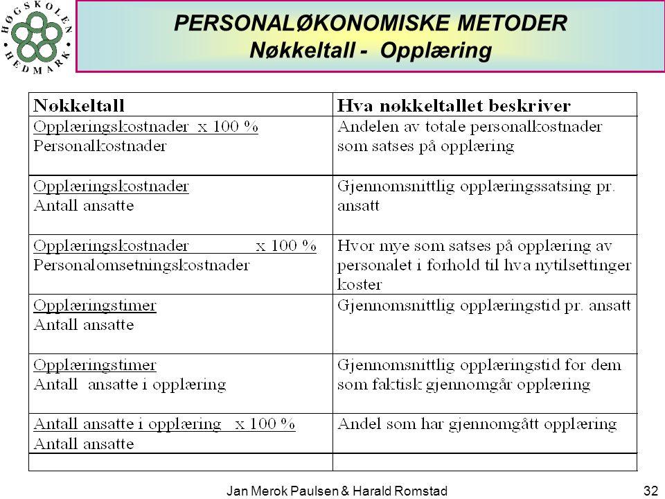 Jan Merok Paulsen & Harald Romstad32 PERSONALØKONOMISKE METODER Nøkkeltall - Opplæring