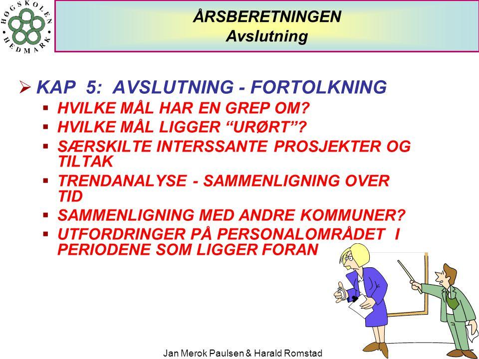 """Jan Merok Paulsen & Harald Romstad35 ÅRSBERETNINGEN Avslutning  KAP 5: AVSLUTNING - FORTOLKNING  HVILKE MÅL HAR EN GREP OM?  HVILKE MÅL LIGGER """"URØ"""
