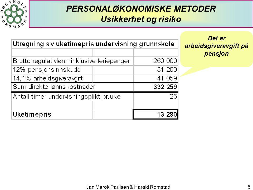 Jan Merok Paulsen & Harald Romstad5 PERSONALØKONOMISKE METODER Usikkerhet og risiko Det er arbeidsgiveravgift på pensjon