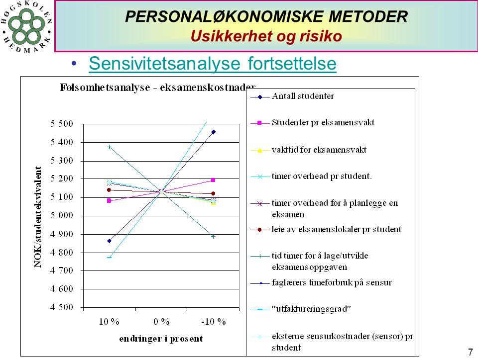 Jan Merok Paulsen & Harald Romstad8 PERSONALØKONOMISKE METODER Følsomhetsanalyser  FORVENTNINGSVERDI: KORRIGERER FOR USIKKERHET  USIKKERHET UTTRYKT I EN SANNSYNLIGHETSFORDELING  BAKER INN SANNSYNLIGHET I DE MULIGE UTFALLENE  FØLSOMHETSANALYSE INGEN SPESIELL PERSONALØKONOMISK TEKNIKK, men nyttig  FREMMER BUDSJETTMESSIG EDRUSKAP