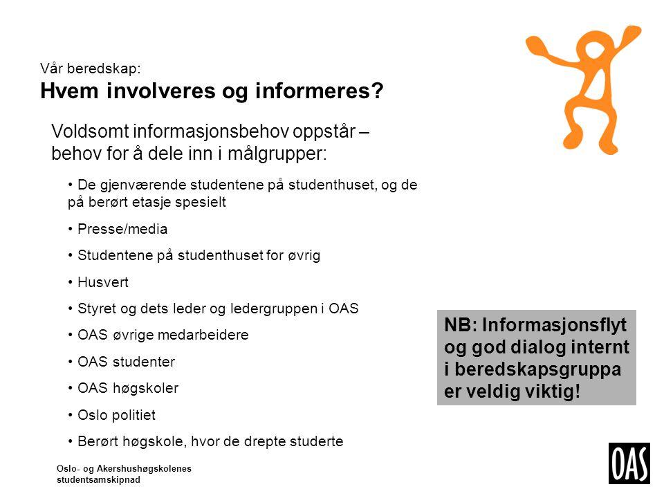 Oslo- og Akershushøgskolenes studentsamskipnad Vår beredskap: Hvem involveres og informeres.