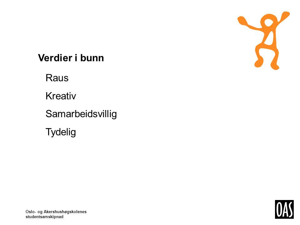 Oslo- og Akershushøgskolenes studentsamskipnad Verdier i bunn Raus Kreativ Samarbeidsvillig Tydelig