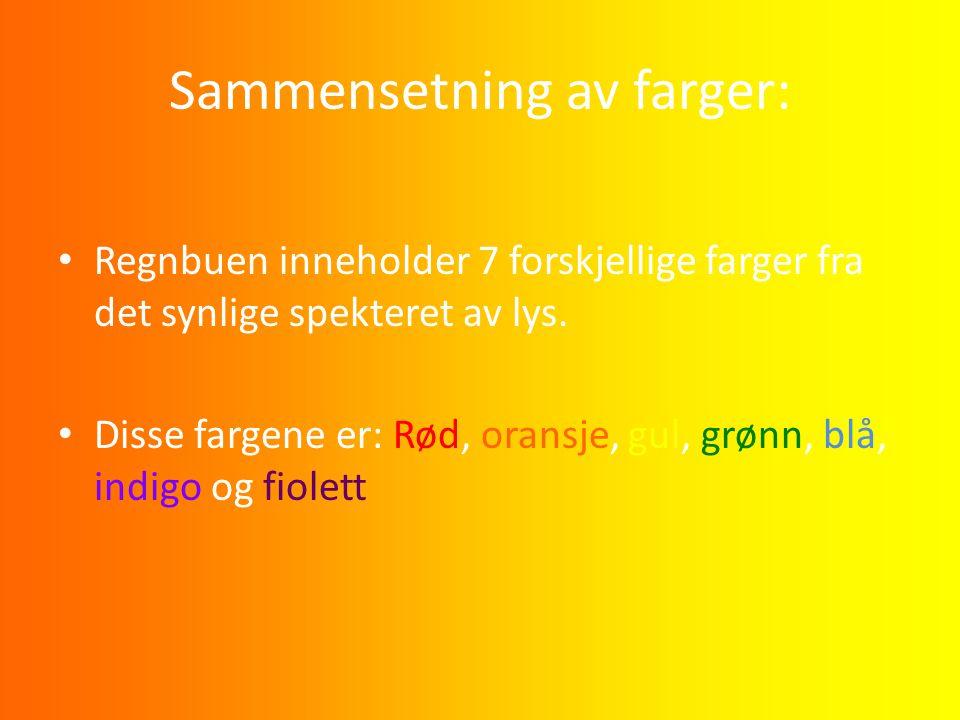 Sammensetning av farger: Regnbuen inneholder 7 forskjellige farger fra det synlige spekteret av lys. Disse fargene er: Rød, oransje, gul, grønn, blå,