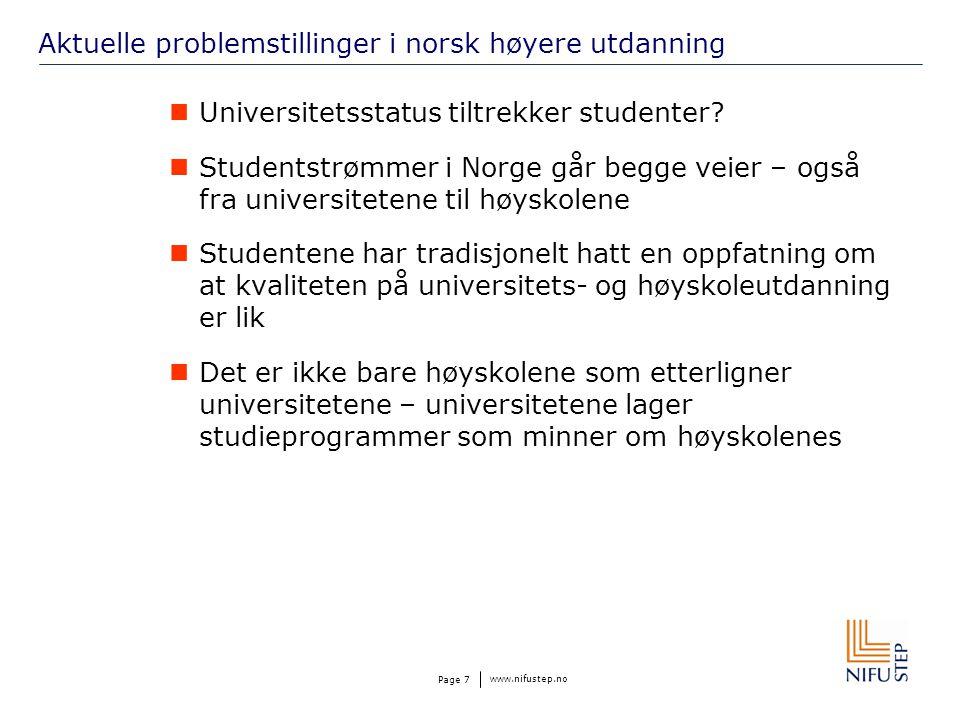 www.nifustep.no Page 7 Aktuelle problemstillinger i norsk høyere utdanning Universitetsstatus tiltrekker studenter.