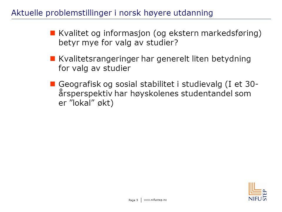 www.nifustep.no Page 9 Aktuelle problemstillinger i norsk høyere utdanning Kvalitet og informasjon (og ekstern markedsføring) betyr mye for valg av studier.