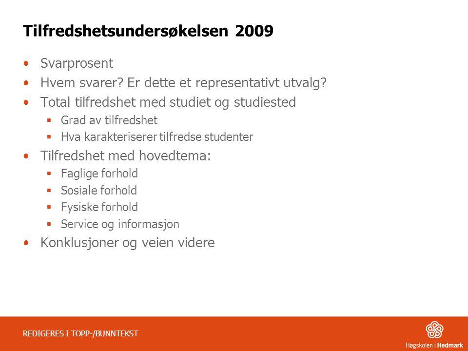 REDIGERES I TOPP-/BUNNTEKST Tilfredshetsundersøkelsen 2009 Svarprosent Hvem svarer.