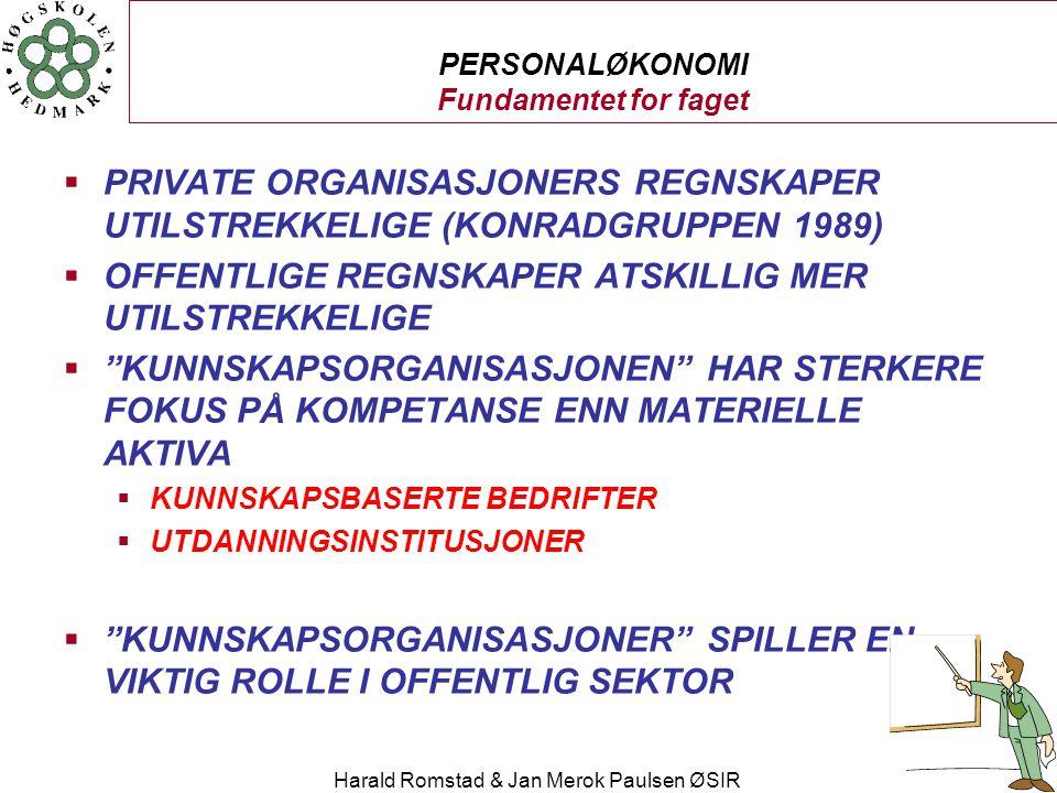 Harald Romstad & Jan Merok Paulsen ØSIR PERSONALØKONOMI Fundamentet for faget  PRIVATE ORGANISASJONERS REGNSKAPER UTILSTREKKELIGE (KONRADGRUPPEN 1989