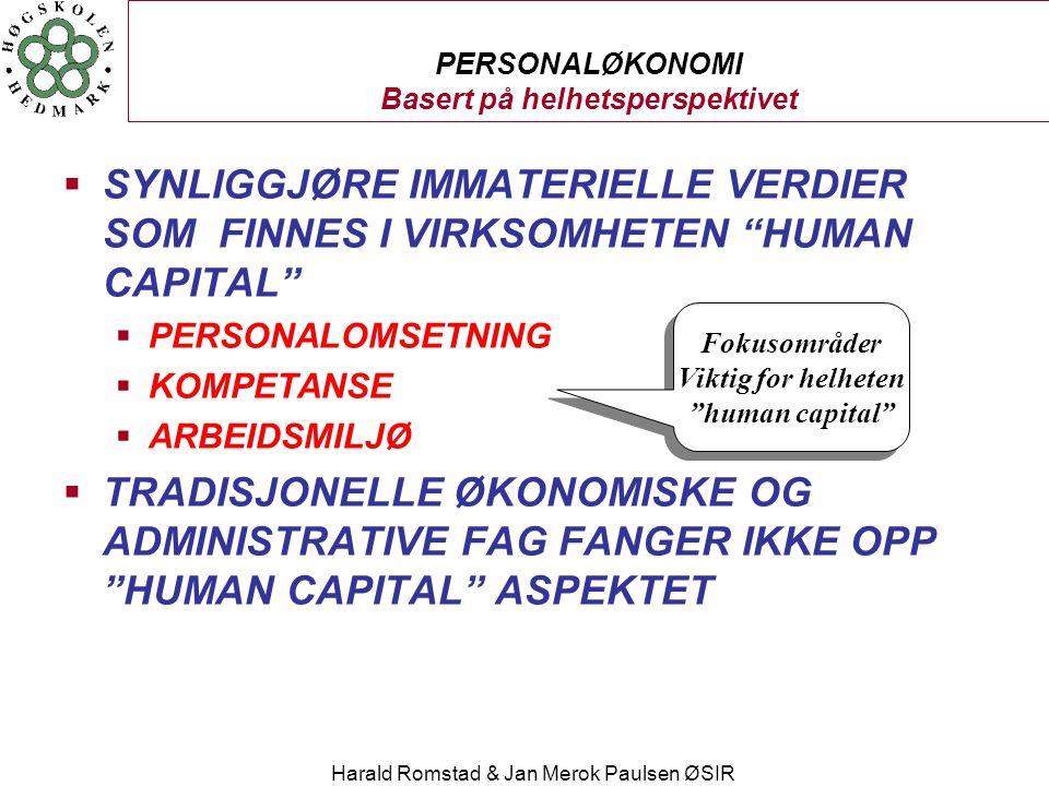 """Harald Romstad & Jan Merok Paulsen ØSIR PERSONALØKONOMI Basert på helhetsperspektivet  SYNLIGGJØRE IMMATERIELLE VERDIER SOM FINNES I VIRKSOMHETEN """"HU"""