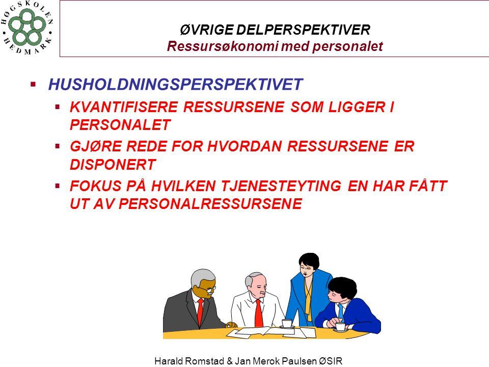 Harald Romstad & Jan Merok Paulsen ØSIR ØVRIGE DELPERSPEKTIVER Ressursøkonomi med personalet  HUSHOLDNINGSPERSPEKTIVET  KVANTIFISERE RESSURSENE SOM