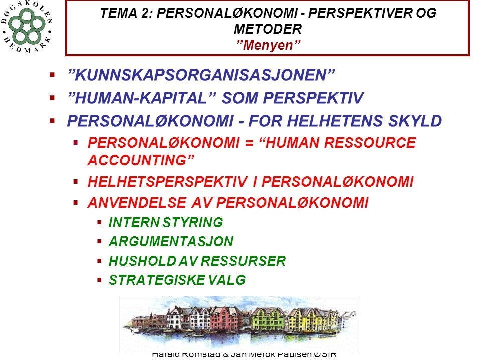 """Harald Romstad & Jan Merok Paulsen ØSIR TEMA 2: PERSONALØKONOMI - PERSPEKTIVER OG METODER """"Menyen""""  """"KUNNSKAPSORGANISASJONEN""""  """"HUMAN-KAPITAL"""" SOM P"""