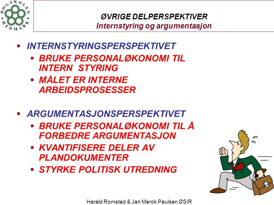 Harald Romstad & Jan Merok Paulsen ØSIR ØVRIGE DELPERSPEKTIVER Internstyring og argumentasjon  INTERNSTYRINGSPERSPEKTIVET  BRUKE PERSONALØKONOMI TIL