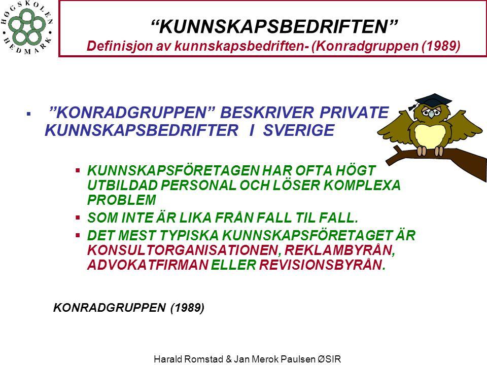 """Harald Romstad & Jan Merok Paulsen ØSIR """"KUNNSKAPSBEDRIFTEN"""" Definisjon av kunnskapsbedriften- (Konradgruppen (1989)  """"KONRADGRUPPEN"""" BESKRIVER PRIVA"""