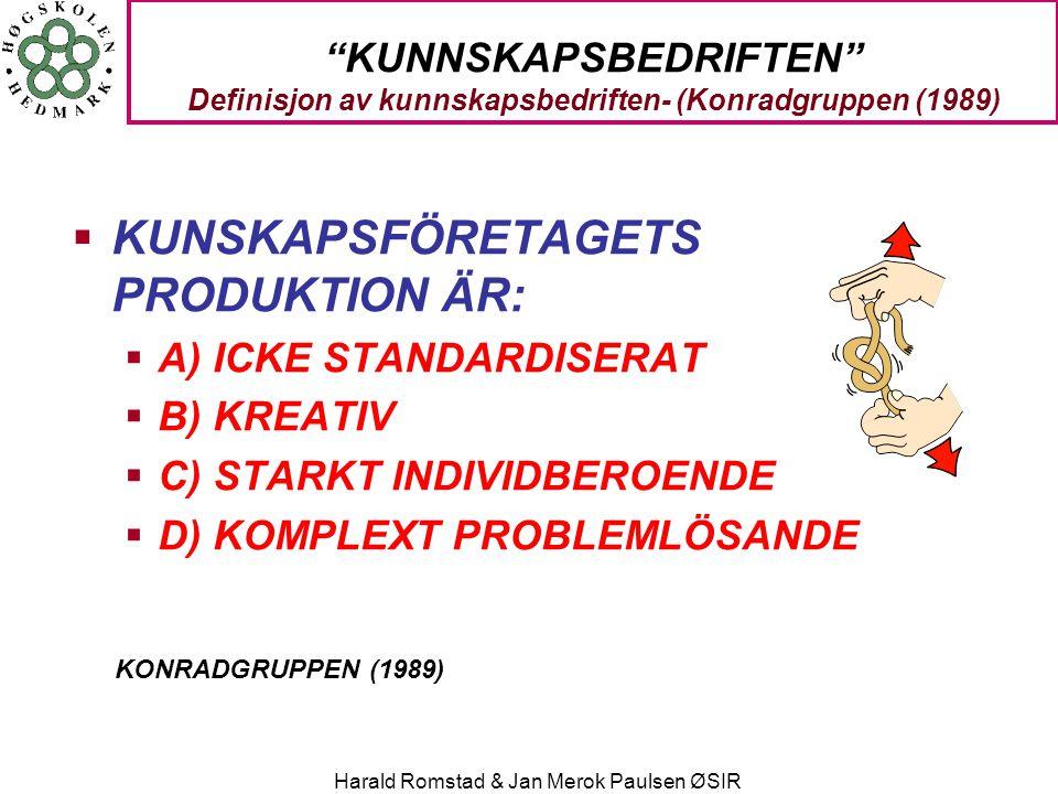 "Harald Romstad & Jan Merok Paulsen ØSIR ""KUNNSKAPSBEDRIFTEN"" Definisjon av kunnskapsbedriften- (Konradgruppen (1989)  KUNSKAPSFÖRETAGETS PRODUKTION Ä"