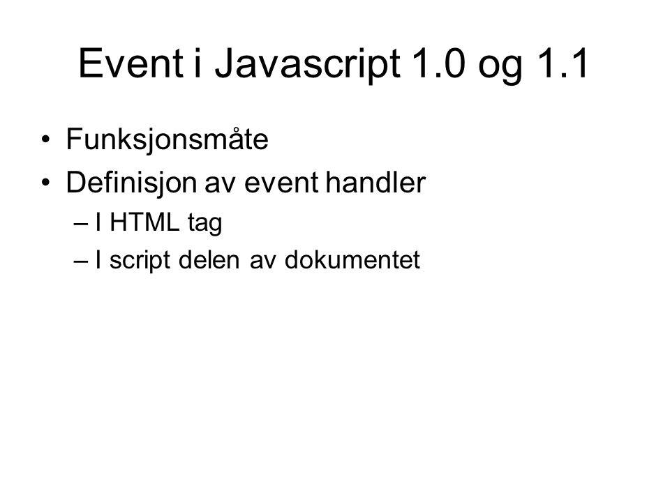 Event handlers i Javascript 1.0 og 1.1 onclick onblur, onfocus onblur, onfocus for window objektet onchange, onselect onsubmit, onreset onload, onunload onmouseover, onmouseout onabort, onerror, onload for Image objektet