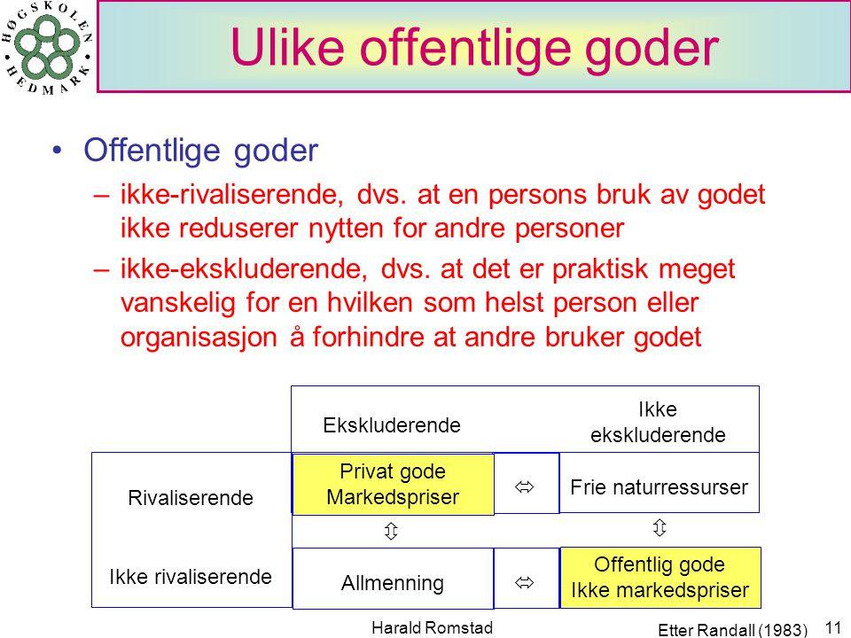 Harald Romstad11 Ulike offentlige goder Offentlige goder –ikke-rivaliserende, dvs.