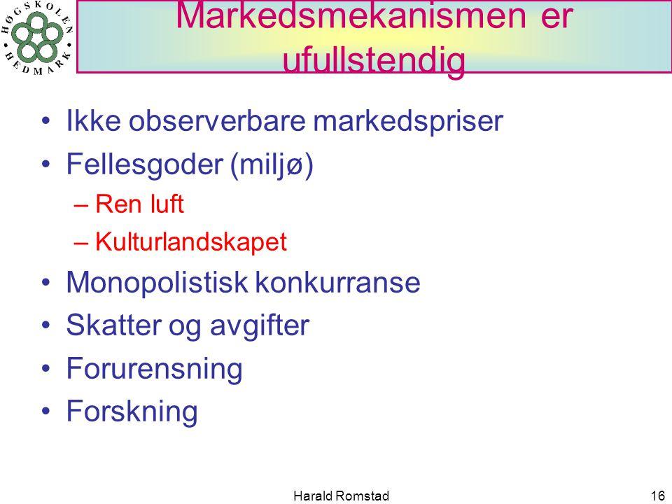 Harald Romstad16 Markedsmekanismen er ufullstendig Ikke observerbare markedspriser Fellesgoder (miljø) –Ren luft –Kulturlandskapet Monopolistisk konkurranse Skatter og avgifter Forurensning Forskning