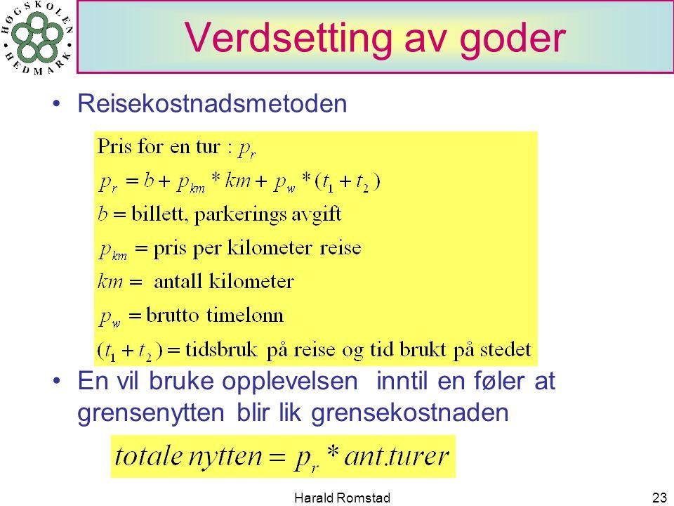 Harald Romstad23 Verdsetting av goder Reisekostnadsmetoden En vil bruke opplevelsen inntil en føler at grensenytten blir lik grensekostnaden