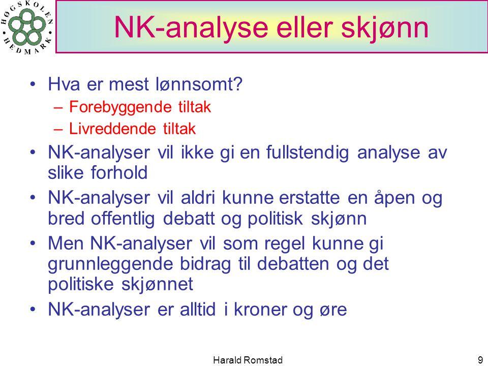 Harald Romstad9 NK-analyse eller skjønn Hva er mest lønnsomt.