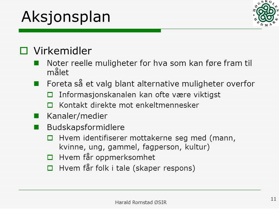 Harald Romstad ØSIR 11 Aksjonsplan  Virkemidler Noter reelle muligheter for hva som kan føre fram til målet Foreta så et valg blant alternative mulig
