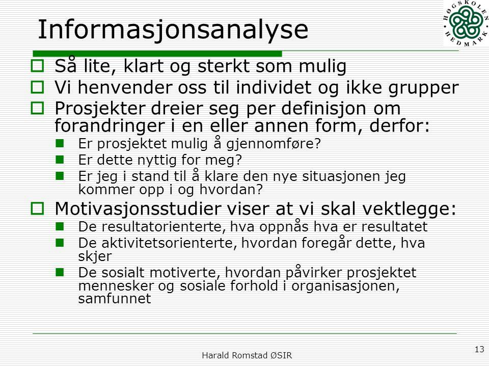 Harald Romstad ØSIR 13 Informasjonsanalyse  Så lite, klart og sterkt som mulig  Vi henvender oss til individet og ikke grupper  Prosjekter dreier s
