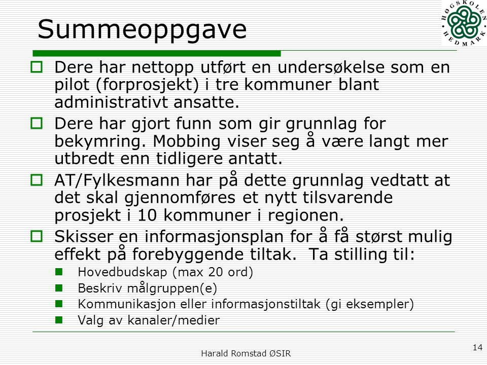 Harald Romstad ØSIR 14 Summeoppgave  Dere har nettopp utført en undersøkelse som en pilot (forprosjekt) i tre kommuner blant administrativt ansatte.