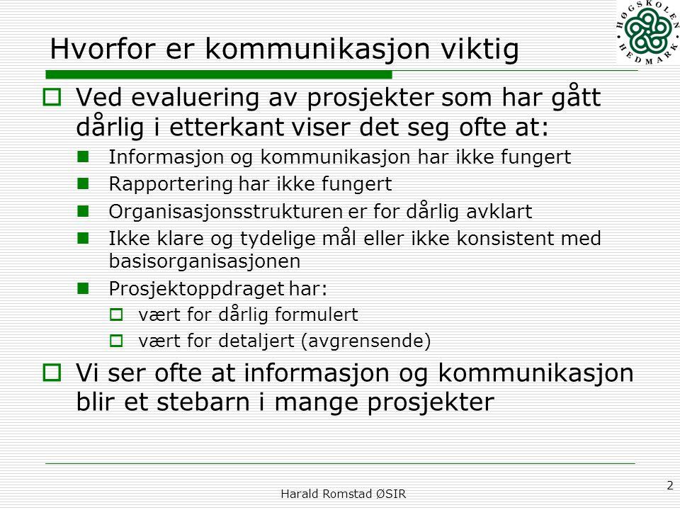 Harald Romstad ØSIR 2 Hvorfor er kommunikasjon viktig  Ved evaluering av prosjekter som har gått dårlig i etterkant viser det seg ofte at: Informasjo