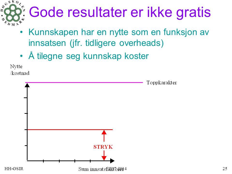 HH-ØSIR12.07.201425 Gode resultater er ikke gratis Kunnskapen har en nytte som en funksjon av innsatsen (jfr. tidligere overheads) Å tilegne seg kunns