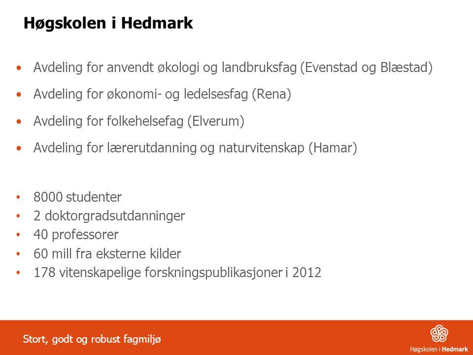 Høgskolen i Hedmark Avdeling for anvendt økologi og landbruksfag (Evenstad og Blæstad) Avdeling for økonomi- og ledelsesfag (Rena) Avdeling for folkeh