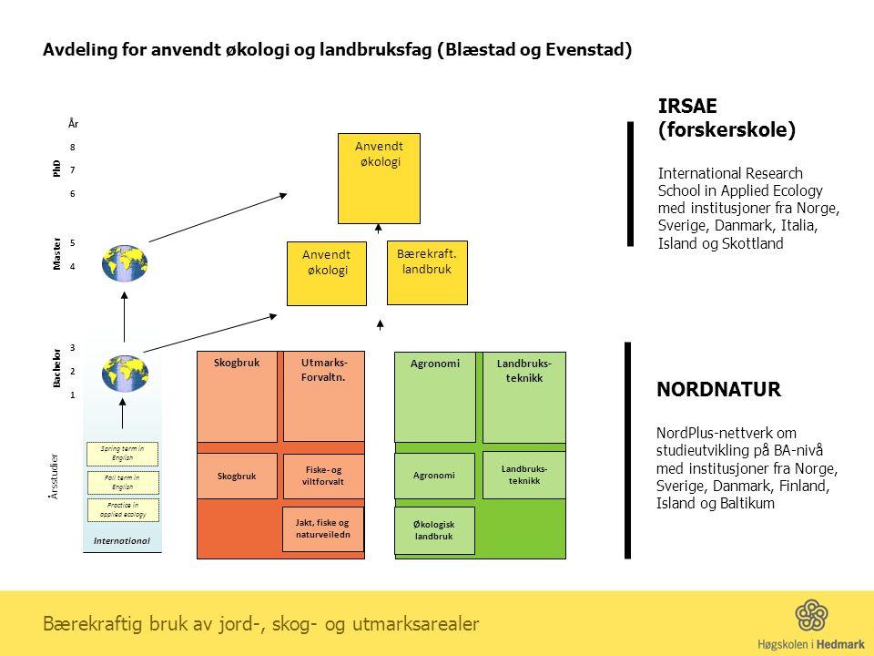 NORDNATUR NordPlus-nettverk om studieutvikling på BA-nivå med institusjoner fra Norge, Sverige, Danmark, Finland, Island og Baltikum IRSAE (forskersko