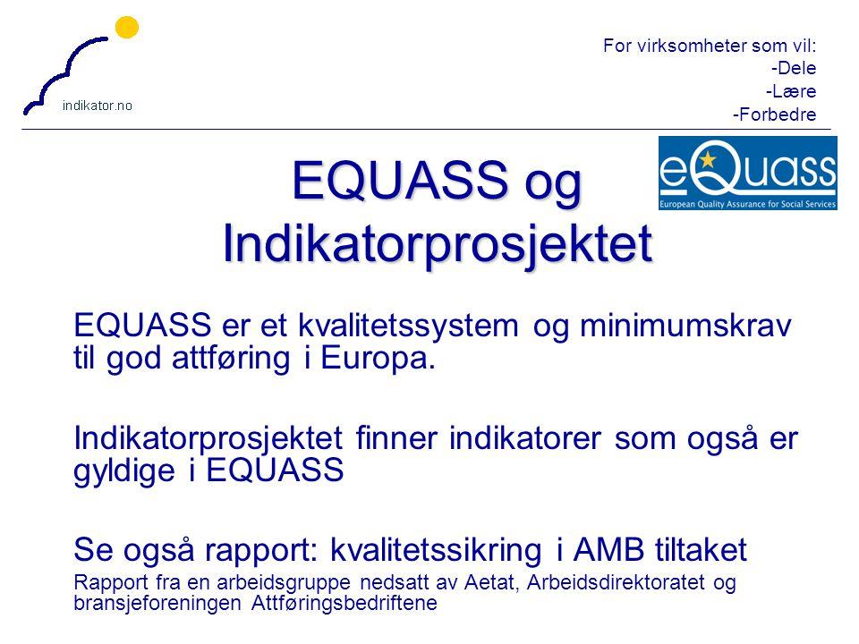 For virksomheter som vil: -Dele -Lære -Forbedre 20 EQUASS er et kvalitetssystem og minimumskrav til god attføring i Europa. Indikatorprosjektet finner