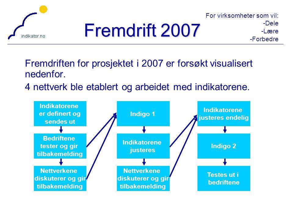 For virksomheter som vil: -Dele -Lære -Forbedre 29 Fremdrift 2007 Fremdriften for prosjektet i 2007 er forsøkt visualisert nedenfor. 4 nettverk ble et