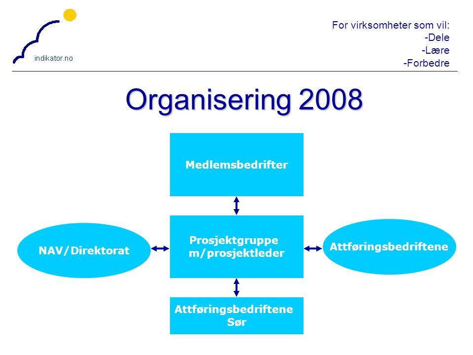 For virksomheter som vil: -Dele -Lære -Forbedre 31 Organisering 2008 Attføringsbedriftene Sør Prosjektgruppe m/prosjektleder Attføringsbedriftene NAV/