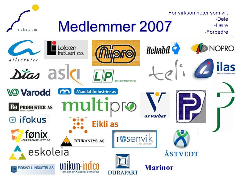 For virksomheter som vil: -Dele -Lære -Forbedre 4 Medlemmer 2007 Marinor