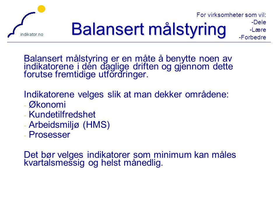 For virksomheter som vil: -Dele -Lære -Forbedre 44 Balansert målstyring Balansert målstyring er en måte å benytte noen av indikatorene i den daglige d