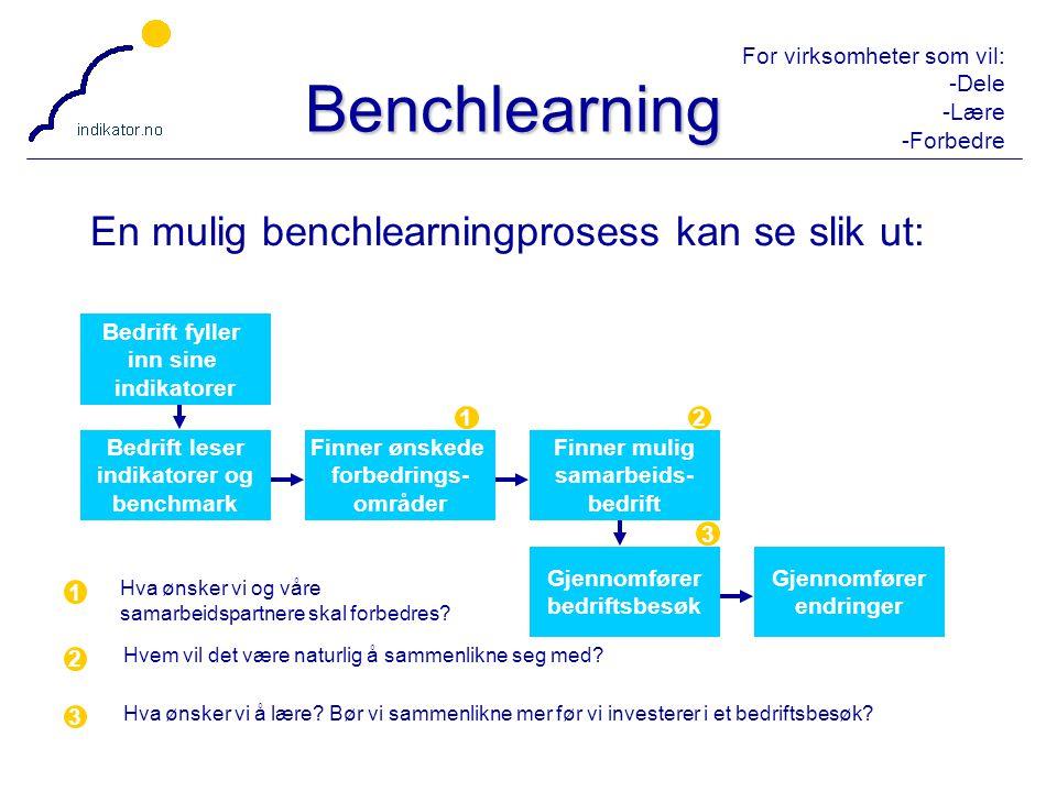 For virksomheter som vil: -Dele -Lære -Forbedre 45 Benchlearning En mulig benchlearningprosess kan se slik ut: Bedrift fyller inn sine indikatorer Bed