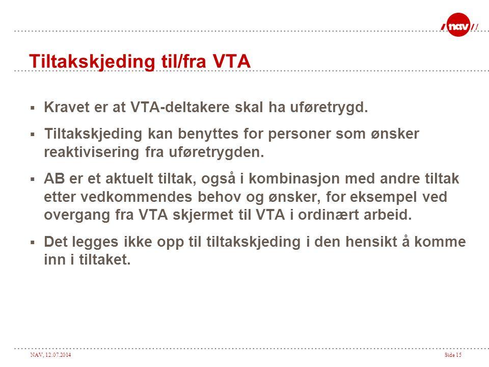 NAV, 12.07.2014Side 15 Tiltakskjeding til/fra VTA  Kravet er at VTA-deltakere skal ha uføretrygd.  Tiltakskjeding kan benyttes for personer som ønsk