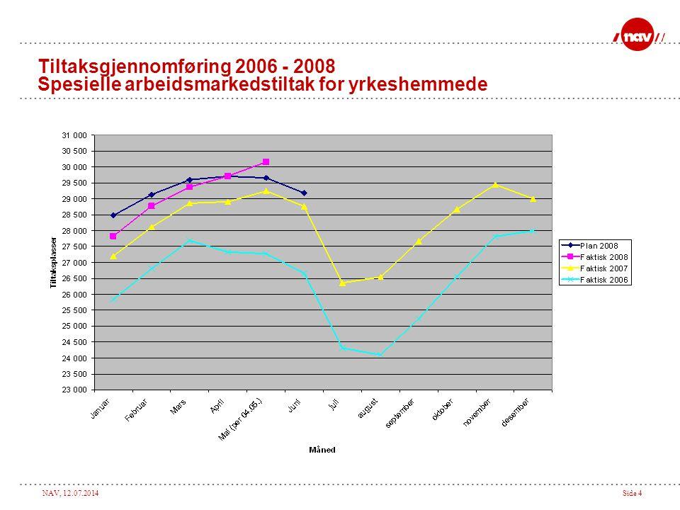 NAV, 12.07.2014Side 4 Tiltaksgjennomføring 2006 - 2008 Spesielle arbeidsmarkedstiltak for yrkeshemmede