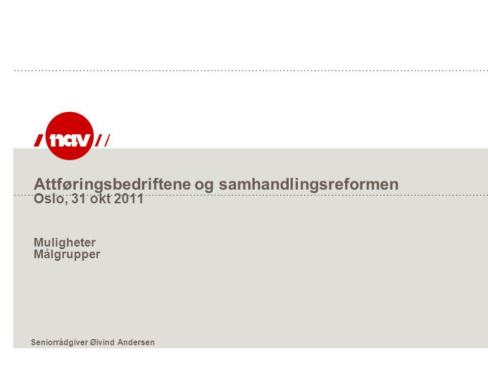 Attføringsbedriftene og samhandlingsreformen Oslo, 31 okt 2011 Muligheter Målgrupper Seniorrådgiver Øivind Andersen