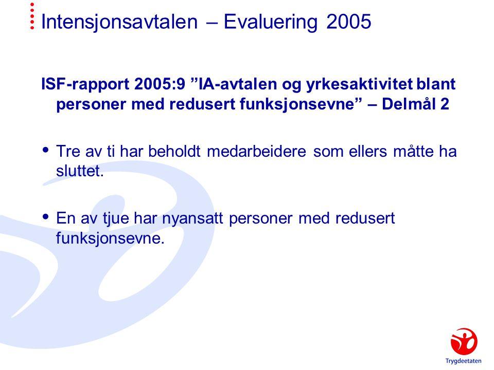 Intensjonsavtalen – Evaluering 2005 ISF-rapport 2005:9 IA-avtalen og yrkesaktivitet blant personer med redusert funksjonsevne – Delmål 2  Tre av ti har beholdt medarbeidere som ellers måtte ha sluttet.