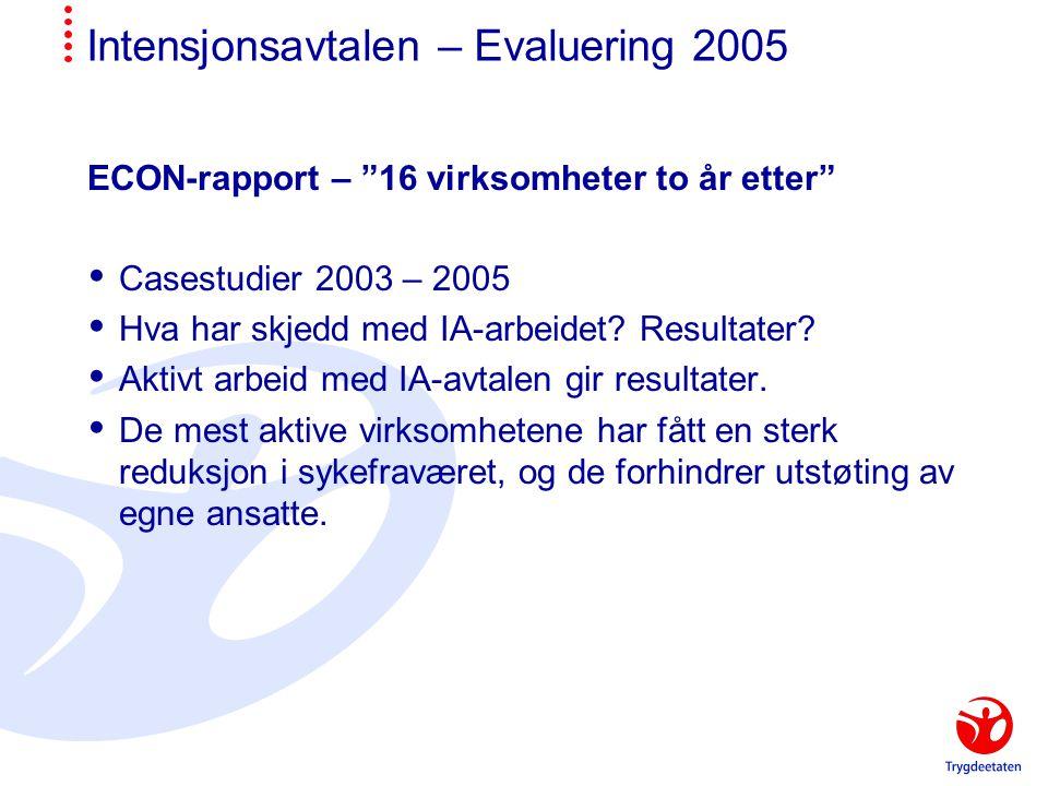 Intensjonsavtalen – Evaluering 2005 ECON-rapport – 16 virksomheter to år etter  Casestudier 2003 – 2005  Hva har skjedd med IA-arbeidet.