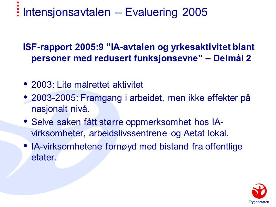 Intensjonsavtalen – Evaluering 2005 ISF-rapport 2005:9 IA-avtalen og yrkesaktivitet blant personer med redusert funksjonsevne – Delmål 2  2003: Lite målrettet aktivitet  2003-2005: Framgang i arbeidet, men ikke effekter på nasjonalt nivå.