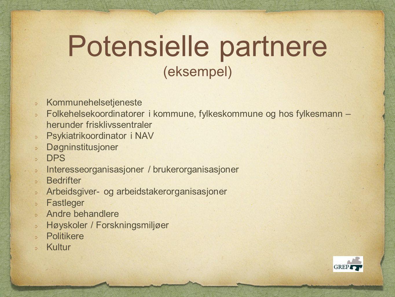 Potensielle partnere (eksempel) Kommunehelsetjeneste Folkehelsekoordinatorer i kommune, fylkeskommune og hos fylkesmann – herunder frisklivssentraler