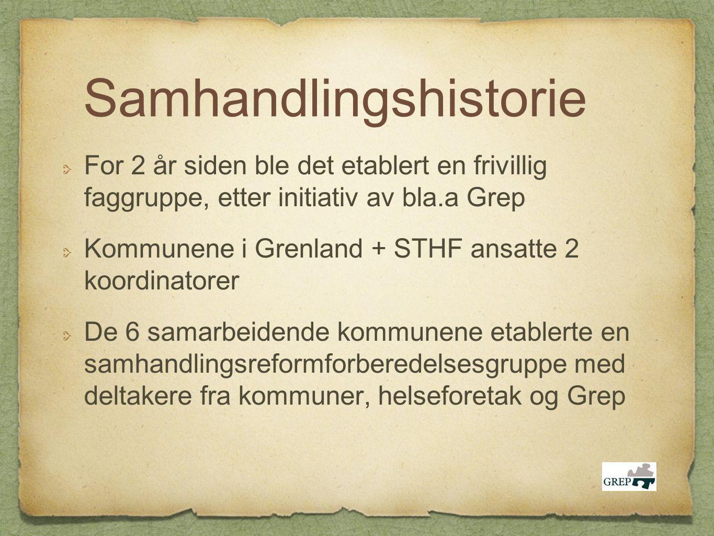Samhandlingshistorie For 2 år siden ble det etablert en frivillig faggruppe, etter initiativ av bla.a Grep Kommunene i Grenland + STHF ansatte 2 koord